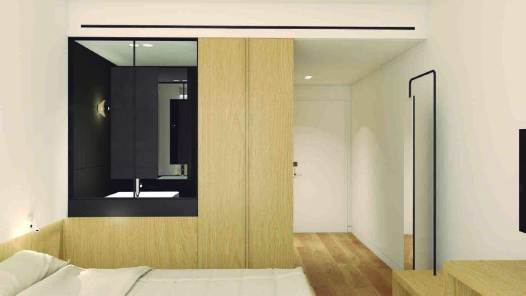 """""""Detalle interior habitación individual. Hotel Passive House Cortabitarte"""""""